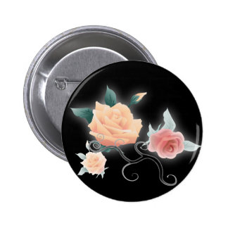 vintage black floral botanical wedding button