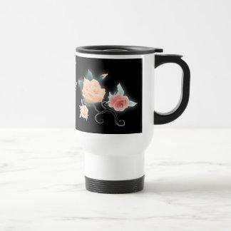vintage black floral botanical wedding travel mug