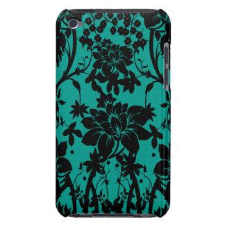 Vintage black floral design on Peacock green iPod Case-Mate Case