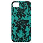 Vintage black floral design on Peacock green iPhone 5 Cases