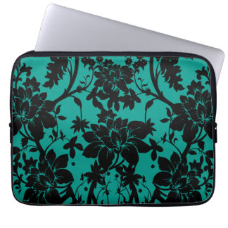 Vintage black floral design on Peacock green Computer Sleeve