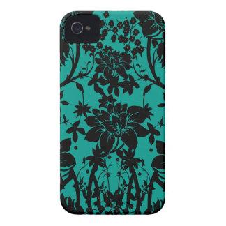 Vintage black floral design on Peacock green iPhone 4 Case-Mate Case