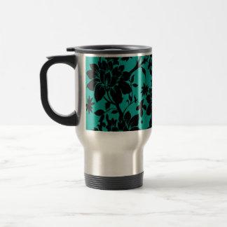 Vintage black floral design on Peacock green Travel Mug