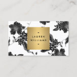 """Vintage Black Floral Pattern Business Card<br><div class=""""desc"""">A vintage floral pattern is made modern when combined with a faux metallic gold box containing your name or business name on this elegant business card design. The black and white art is classic and timeless,  giving your brand identity a glamorous aesthetic. Design by 1201AM Design Studio   www.1201am.com</div>"""