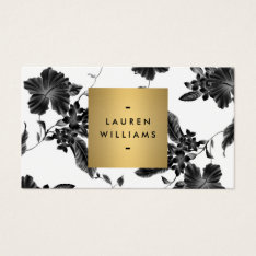 Vintage Black Floral Pattern Business Card at Zazzle