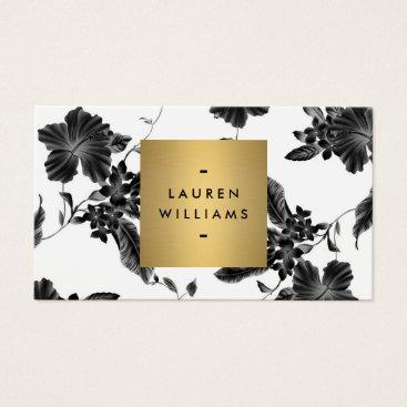 Vintage Black Floral Pattern Business Card