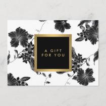 Vintage Black Floral Pattern Gift Certificate