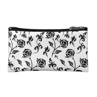 Vintage Black Floral Pattern on White Cosmetic Bag