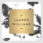 Vintage Black Floral Pattern Personalized Square Sticker