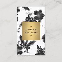 Vintage Black Floral Pattern Vertical Business Card