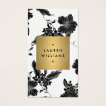 Vintage Black Floral Pattern Vertical Business Card