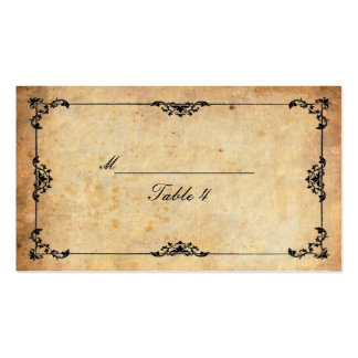 Vintage Black Floral Swirl Table Place Cards Double-Sided Standard Business Cards (Pack Of 100)