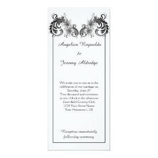 Vintage Black Floral Swirls Wedding Invitation
