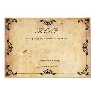 Vintage Black Floral Wedding RSVP Card