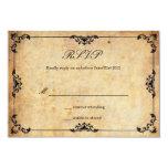 Vintage Black Floral Wedding RSVP Card Custom Invitations