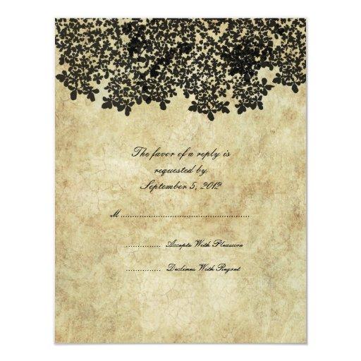 Vintage Black Floral Wedding RSVP Personalized Invitations