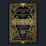 """Vintage Black &amp; Gold Art Deco Wedding Invitations<br><div class=""""desc"""">Vintage Black &amp; Gold Art Deco Wedding Invitations-- features a printed gold gradient frame with glitzy accents through out. The color scheme is gold and black with a touch of white (wording). This glam design also features a monogram styled near the bottom in a 20&#39;s design with the groom&#39;s last...</div>"""