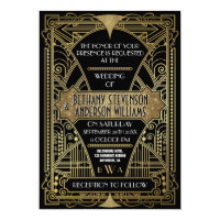 Vintage Black & Gold Art Deco Wedding Invitations