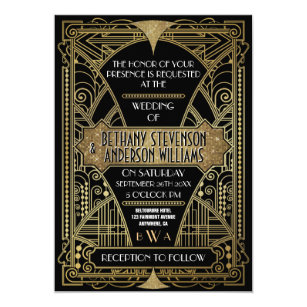art deco wedding invitations zazzle