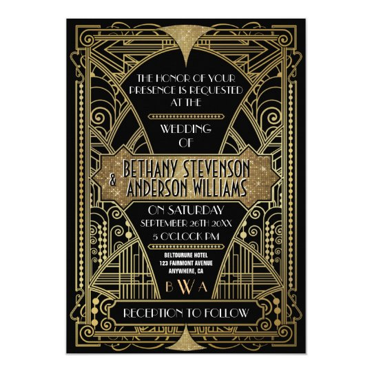 Vintage Black Gold Art Deco Wedding Invitations