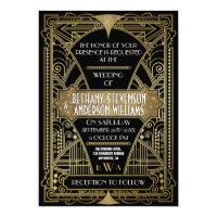 Vintage Black &amp; Gold Art Deco Wedding Invitations (<em>$2.15</em>)