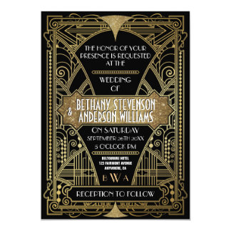 Vintage Black Gold Art Deco Wedding Invitations