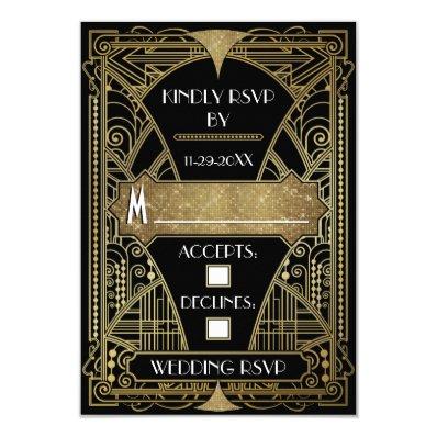 Vintage Black & Gold Art Deco Wedding RSVP Cards