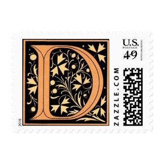 Vintage Black & Gold Letter 'D' - Stamp