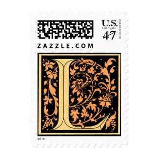 Vintage Black & Gold Letter 'L' - Stamp
