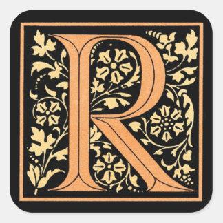 Vintage Black & Gold Letter 'R' - Sticker