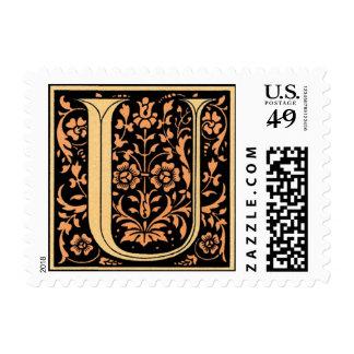 Vintage Black & Gold Letter 'U' Postage