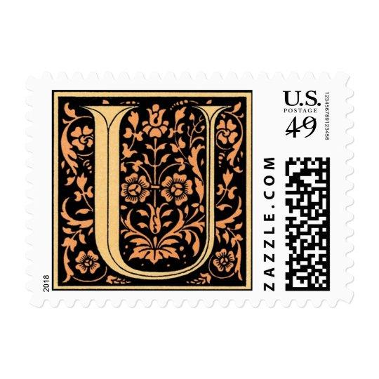 Vintage Black & Gold Letter 'U' Stamp
