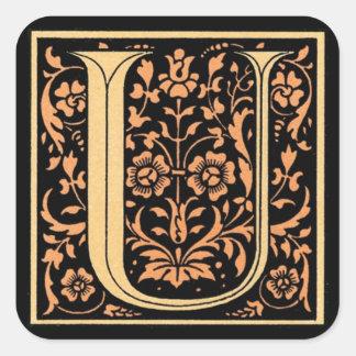Vintage Black & Gold Letter 'U' - Sticker