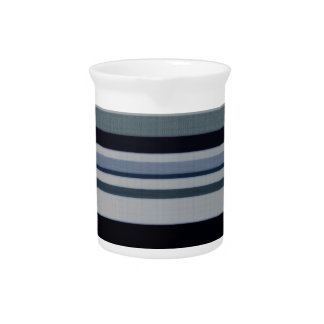 Vintage Black Gray Blue Patterns Stripes Pitcher