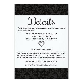 Vintage Black & Gray Directions Details Damask Card