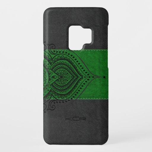 Vintage Black & gre Leather With Black Lace Accent Case-Mate Samsung Galaxy S9 Case