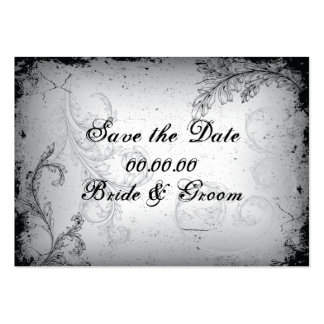 Vintage black grey scroll leaf Save the Date Large Business Cards (Pack Of 100)