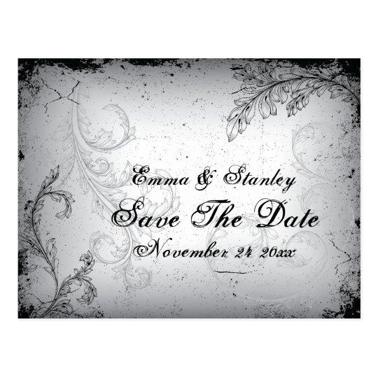 Vintage black grey scroll leaf Save the Date Postcard