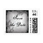 Vintage black grey scroll leaf Save the Date stamp