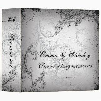 Vintage black grey scroll leaf wedding binder