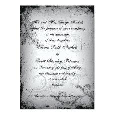 Vintage black grey scroll leaf wedding invitation 5