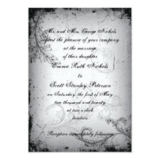 Vintage black grey scroll leaf wedding invitation custom announcement