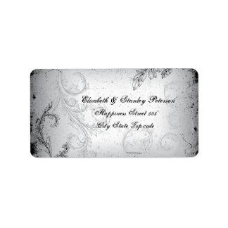Vintage black grey scroll leaf wedding label