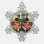 Vintage Black Haired Twins Dressed in Red - Wilcox Ornament