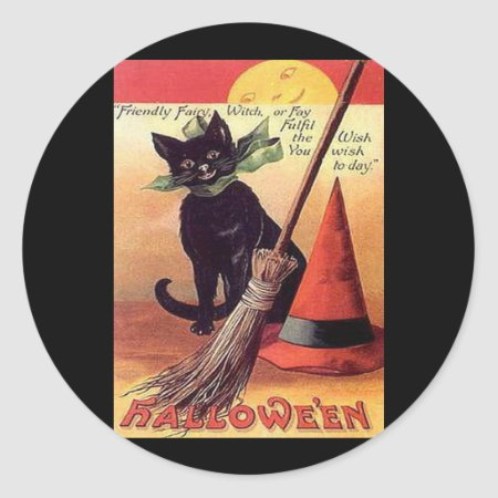 Vintage Black Halloween Cat Classic Round Sticker