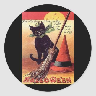 Vintage Black Halloween Cat sticker