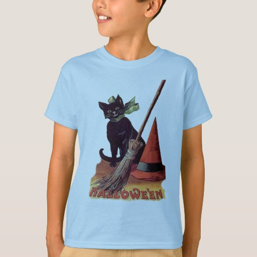 Vintage Black Halloween Cat T-Shirt