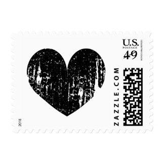 Vintage black heart postage stamps