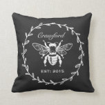 Vintage Black Honey Bee Laurel Honeycomb Monogram Pillow