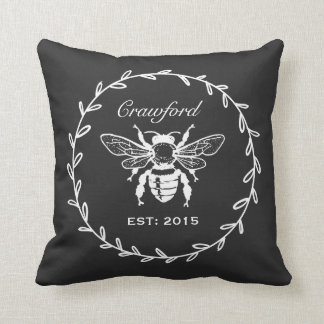 Vintage Black Honey Bee Laurel Honeycomb Monogram Throw Pillow